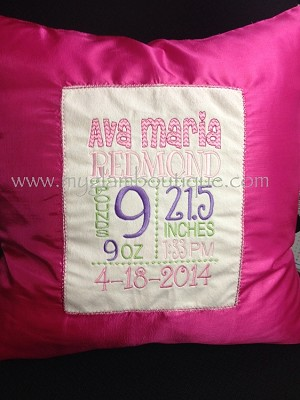 Birth Announcements Pillow cover 18x18