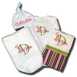 Onesie , Hat, BurpCloth & Blanket Gift Set