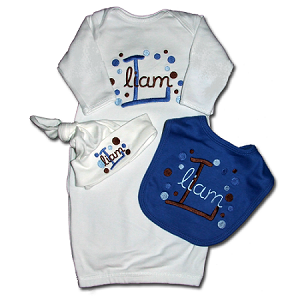 Infant Gown, Bib & Hat Gift Set
