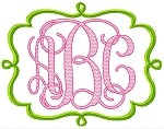 Swirl Applique Frame for use with Monogram font