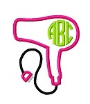 HairDryer Applique Frame for use with Monogram font-2