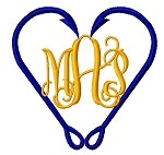 Hook Heart Monogram Frame